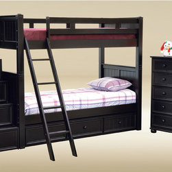 Bunkbed - This bunk bed features twin over twin beds, ladder included for ease of access and complete slat support system included. The top bunk features safety rails on all sides, and metal to metal connection for strength and durability. Meets or exceeds all federal safety standards. The bunk beds can also be separated into 2 separate floor beds. This bunk bed is very well made and comes with quality that will last a lifetime.