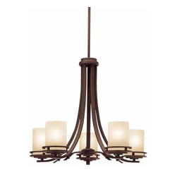 Kichler - Hendrik Olde Bronze Five-Light Chandelier - This elegant chandelier features an olde bronze finish complimented by five light umber etched glass shades.  It includes 104? of extra lead wire and has a maximum stem tilt of 45-degrees.   Kichler - 1672OZ