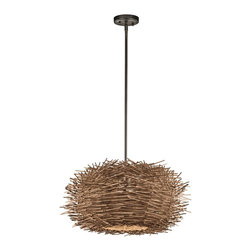 Kichler Lighting - Kichler Lighting Twigs Modern / Contemporary Pendant Light X-ZO30234 - This unique 1 light pendant from the Twigs&trade: collection makes a bold statement. The rich Olde Bronze&trade: finish and natural detailing will dramatically elevate any space in your home.