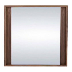 Bryght - Fennel Walnut Square Mirror - Bring depth and texture to a space with the sophisticated Fennel mirror collection. Also available in a Black finish.
