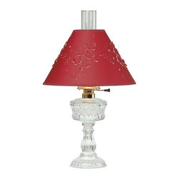 "Renovators Supply - Table Lamps Clear Cut Glass Lamp w/Burgundy Paper Shade - This cut glass style lamp has a cut paper shade.  This measures 20 1/2"" high and the shade is 12"" in diameter."