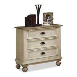 Riverside Furniture - Coventry Nightstand with 3 Drawers (Weathered Driftwood and Dover White) - Finish: Weathered Driftwood and Dover White