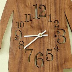 Kids - Laser cut walnut clock. Photo by Greg Christman