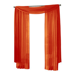 """HLC.ME - HLC.ME Sheer Curtain Window, Orange, Panel - Each panel is approximately 54"""" wide and 95"""" in Length. For a full look use 2 panels to cover a standard size window. This picture shows two sheer panels  this package contains one (1) Sheer Panel. Decorate every window with style and sophistication. Allows natural light to flow through the room . Add a Sheer Scarf for an elegant finished look . Have pocket insert that create a clean  tailored look. The finishing touch for your window is a beautiful Decorative Curtain Rod (not included)."""