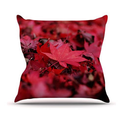 """Kess InHouse - Angie Turner """"Red Leaves"""" Maroon Leaf Throw Pillow (Outdoor, 16"""" x 16"""") - Decorate your backyard, patio or even take it on a picnic with the Kess Inhouse outdoor throw pillow! Complete your backyard by adding unique artwork, patterns, illustrations and colors! Be the envy of your neighbors and friends with this long lasting outdoor artistic and innovative pillow. These pillows are printed on both sides for added pizzazz!"""