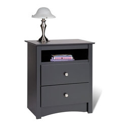 Prepac - Sonoma 2 Drawer Nightstand - An attractive and trendy furniture line without the trendy prices. The Sonoma collection has the look and feel of much more expensive millwork. But it doesn't just look good, it costs less! Thoughtful engineering and intelligently grouped production let you enjoy pricing that's well below the costs of traditional case goods. Durable laminated engineered woods with contoured edges and molded trim, along with brushed nickel knobs give this ready to assemble collection a simple elegance. This stylish Tall nightstand features an open shelf that is perfect for bedside reading material. Other features include two drawers, a profiled top, arched kick plate, solid brushed nickel knobs and drawers that run on smooth, all-metal roller glides with built-in safety stops. As a higher quality ready-to-assemble product, it is made from durable composite woods, and unlike other RTA furniture, has no plastic edgebanding. Features: -One storage shelf.-Brushed nickel knobs.-Profiled top, side moldings and arched kick plate.-Metal roller glides and built-in safety stop on drawer.-Durable laminated composite woods construction.-Sonoma collection.-Distressed: No.-Collection: Sonoma.-Country of Manufacture: Canada.Dimensions: -Overall Product Weight: 47 lbs.Warranty: -5 year manufacturer's limited warranty. About the Manufacturer: About Prepac: Founded in 1979, Prepac Manufacturing is a state-of-the-art manufacturer of home furnishings and storage products with its main manufacturing factory located in the heart of the forest-rich province of British Columbia, Canada. Prepac is now one of the largest producers of ready to assemble furniture in Canada, with full-service representation throughout North America. To ensure our customers receive outstanding design and quality at competitive prices, Prepac's design, engineering, production, testing and packaging are all done in-house.