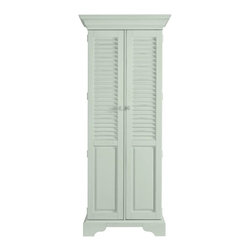 Stanley Furniture - Summerhouse Utility Cabinet - Down in the Low Country, hidden style like this is called a lagniappe - that something special you didn't quite expect. In our case, painted louvered doors reveal two adjustable storage shelves over four roomy tray drawers. Perfect for linens, CDs, spare silver or even cleaning products. Now that would be unexpected.