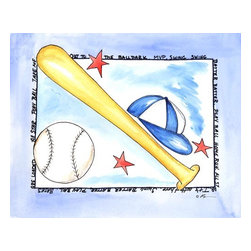 Oh How Cute Kids by Serena Bowman - Baseball, Ready To Hang Canvas Kid's Wall Decor, 20 X 24 - For your little Babe Ruth!