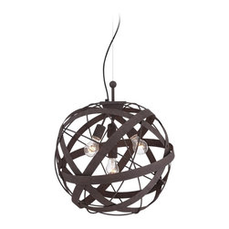 "Franklin Iron Works - Contemporary Orbital Weave 19 1/2"" Wide Rust Metal Pendant Light - This industrial style pendant light features interwoven straps and hoops. Constructed of metal this half-round fixture is finished in a natural rust with appropriate texturing. The orbital weave wraps around four bulbs that will illuminate your surroundings as it brightens up your tasteful decor. Metal pendant light. Rust finish. Four maximum 40 watt bulbs (not included). 19 1/2"" wide. 19 1/2"" high. Includes 10 feet cable 11 feet of wire. Canopy is 5 1/2"" wide. Hang weight 6 1/2 lbs.  Metal pendant light.   Rust finish.   Four maximum 40 watt bulbs (not included).   19 1/2"" wide.   19 1/2"" high.  Includes 10 feet cable 11 feet of wire.   Canopy is 5 1/2"" wide.  Hang weight 6 1/2 lbs."