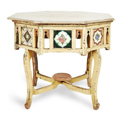 India Vintage Ananda Table - This beautiful vintage table from India circa 1930-40 would be the highlight of any room. The octagonal top is made of marble, and the painted wooden base is accented with handmade tiles.