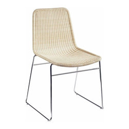 Selamat - Selamat Ensign Stacking Chairs in Wicker and Chrome-Natural - Wicker on stainless steel frame.