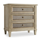 """Hooker Furniture - Hooker Furniture Sanctuary Three Drawer Nightstand in Pearl Essence - Pursue serenity at home. Create your own personal sanctuary, a special place where you can experience comfort within. Finish: Pearl Essence. Three drawers. Felt-lined top drawer. Receptacle on back. Cedar in bottom drawer. Touch light underneath. Hardwood Solids with Oak and Red Cedar Veneers and Antique Mirror. Dimensions: 32""""W x 18""""D x 32.5""""H."""