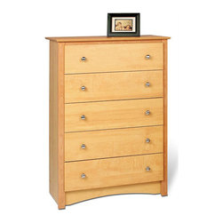 Prepac Furniture - Prepac Sonoma 5 Drawer Chest in Maple - The most popular member of our Sonoma Collection, thisSonoma 5 Drawer Chest in Maple by Prepac Furniture features five full-size drawers, a profiled top, side moldings and an arched kick plate. Other highlights include solid brushed nickel knobs and drawers that run on smooth all-metal roller glides with built-in safety stops. As a higher quality ready-to-assemble product, it is made from durable composite woods, and unlike other RTA furniture, has no plastic edge-banding.It has a classic decorative touches including an arched apron, a profiled top, side moldings and solid brushed nickel accents to make it as visually appealing as it is practical for your bedroom.