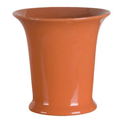 Oriental Danny - Round Vase/Pot - Happy Orange round pot is great for plant and flower arrangement. Hand glazed and hand made.