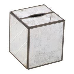 Worlds Away Kleenex Box Antique Mirror, Plain - Worlds Away Kleenex Box Antique Mirror, Plain
