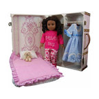 Pretty in Pink Doll Storage Trunk with Bed - I adore that this doll storage suitcase comes with its own pull-out bed. Girls will love imagining they're saying night-night to their doll when they tuck them in. The set also includes hangers, rods and bedding.