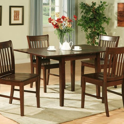 7PC RECTANGULAR KITCHEN DINETTE TABLE 6 CHAIRS MAHOGANY -