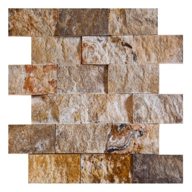 """2"""" x 4""""Scabos Split Face Tumbled Travertine Tiles on 12"""" x 12"""" - Our 2"""" x 4"""" Scabos Split Face Travertine Tiles on 12"""" x 12"""" sheet have a highly dense texture with decorative contrast markings of rich yellow, black, turquoise and unique burgundy colors on a wavy beige background. This raw material is especially suited for brushed and distressed edge multi-size pattern sets, pavers and honed tiles & mosaics."""