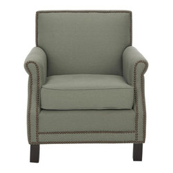Safavieh - Easton Club Chair - Sea Mist - The distinguished Easton chair, with slender frame, roll arms and brass nailhead details, is a fireside classic. Upholstered in pure linen fabric in sea mist and standing on straight birch wood legs with a dark java finish, this comfy club chair is an easy-going version of the den and library favorite. Designed for small spaces, the transitional Easton chair adapts to traditional, country and soft contemporary settings with ease.