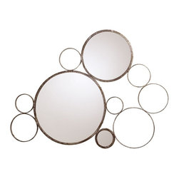 "Arteriors - Sheridan Mirror, Silver Leaf - An abstract arrangement of circles lends an intriguing vibe to your favorite contemporary setting. This impressive piece, made of iron and featuring a trio of glass mirrors, brings ""wow"" to your wall and depth to your space."