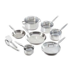 "T-Fal/Wearever - T-Fal Ultimate Stainless Steel Copper Bottom 12 Pc. Set - T-Fal Ultimate Stainless Steel Copper Bottom 12 Piece Set - 8"" fry pan, 10.25"" fry pan, 1qt covered sauce pan, 2qt covered sauce pan, 3qt covered sauce pan, 5qt covered Dutch oven, 2 Stainless Steel tools (slotted spoon and slotted spatula). Oven safe up to 500 degree Fahrenheit. Dish washer safe. Riveted, Stainless Steel handles. Glass lids. Safe for cooking on induction surfaces."