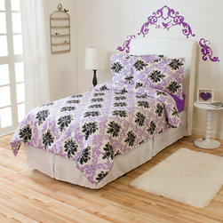 None - Ferrara Ivy Union Twin XL Comforter 2-piece Set - A black and lavender damask print brings feminine flair to this twin XL comforter,ideal for any little girls room. Crafted with an even baffle box design,this down alternative bedding will provide all year warmth.
