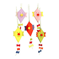 """Alexander Taron - Alexander Taron Christian Ulbricht Ornament - Kite with Face-4""""H x 1.5""""W x 0.5""""D - Christian Ulbricht Hanging Ornament with assorted """"Happy Face"""" kites - Made in Germany. Also see #11/0224"""