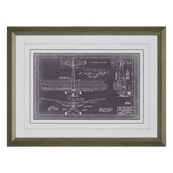 Paragon - Aero Blueprint VIII - Framed Art - Each product is custom made upon order so there might be small variations from the picture displayed. No two pieces are exactly alike.
