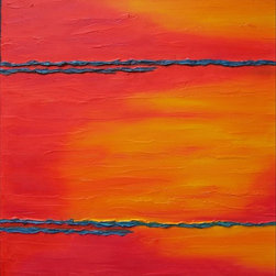 """""""Santa Fe Colores I"""" Artwork - Minimalistic oil on canvas with heavily textured zones executed in brilliant contrasting palette."""