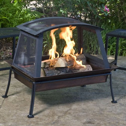 Woodstream (was Opus Inc) - CobraCo Steel Fireplace with Black Powdered Finish - FB6200S - Shop for Fire Pits and Fireplaces from Hayneedle.com! Gather your guests around the eye-catching CobraCo Steel Fireplace with Black Powdered Finish. This unique rectangular fire pit has a fixed all-around wire enclosure outfitted with 2 removable doors for stoking. Creating the appearance of a whole hearth outdoors it's great for warming up naturally without fear of sparks. The rectangular basin is finished in aged brushed copper and the cage is powder-coated black. Custom protective vinyl cover included.About Woodstream and CobraCoA privately held company with a long-standing positive reputation Woodstream is a global manufacturer and marketer of quality products from pets and wildlife control and home and garden products to bird feeders and garden decor. They have a 150-year history of excellence growth and innovation and have built a strong presence in key markets through organic growth and strategic acquisitions.Most recently Woodstream acquired CobraCo which offers an extensive line of planters baskets flower boxes and accessories. The growth of Woodstream is thanks to their customer-driven approach to product development a dedicated design organization that focuses on innovation quality and safety as well as a commitment to an industry-leading level of service.
