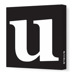 "Avalisa - Letter - Lower Case 'u' Stretched Wall Art, 28"" x 28"", Black - Spell it out loud. These lowercase letters on stretched canvas would look wonderful in a nursery touting your little one's name, but don't stop there; they could work most anywhere in the home you'd like to add some playful text to the walls. Mix and match colors for a truly fun feel or stick to one color for a more uniform look."
