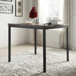None - Darcy Faux Marble Black Metal Counter Height Dining Table - Create a cozy dining experience with the Darcy counter-height table. A faux-marble table top creates a luxurious,sophisticated look that complements dining rooms with modern or classic decor.