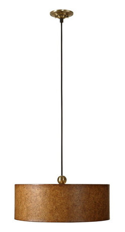 Uttermost - Uttermost 21894  Sonoma 3 Light Drum Pendant - Antiqued natural cork over a hard back with coffee bronze metal ball ornament and canopy. frosted glass diffuser is included.
