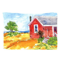 Caroline's Treasures - Old Red Cottage House At The Lake Or Beach Fabric Standard Pillowcase Moisture W - Standard White on back with artwork on the front of the pillowcase, 20.5 in w x 30 in. Nice jersy knit Moisture wicking material that wicks the moisture away from the head like a sports fabric (similar to Nike or Under Armour), breathable performance fabric makes for a nice sleeping experience and shows quality.  Wash cold and dry medium.  Fabric even gets softer as you wash it.  No ironing required.