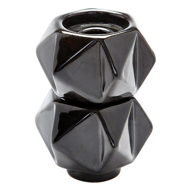 Lazy Susan - Lazy Susan Small Ceramic Star Candle Holders (Set of 2) - Black - Handcrafted in earthenware and finished in a metallic glaze these geometric forms are based on origami. Origami is now considered a modern art form after being popularized outside of Japan in the mid-90's.