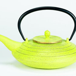 """(D) Celery and Gold Cast Iron """"Serendipity"""" Teapot, 27 Oz. - Unity®   Cast Iron """"Serendipity"""" Teapot – Celery and Gold Finish. Graceful, elegant cast iron Tetsubin teapot crafted in the Japanese style.  Inspired by highly prized antique Japanese cast iron teapots still in use today. Features a black enamel interior coating that helps prevent rust Includes a stainless steel tea brewing basket for ease of preparation.  For brewing and serving tea. Not intended for stovetop use. 27 oz. capacity. Hand wash."""