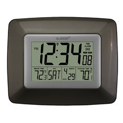 La Crosse Technology - Atomic Digital Wall Clock - This digital atomic wall clock from La Crosse makes a handy addition to any home. It provides the time and date to help you stay on track, and the convenient thermometer displays the indoor and outdoor temperature, helping you decide what to wear.