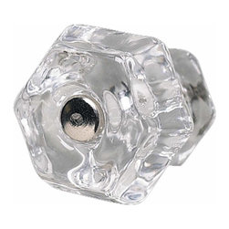 Renovators Supply - Cabinet Knobs Clear Glass 1 1/4'' Dia Knob W/ Chrome Screw   11001 - Clear glass cabinet knob has a chrome screw. The head of the screw and the knob are flat. 1 1/4 in. diameter Knob w/ chrome screw.