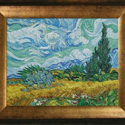 "overstockArt.com - Van Gogh - Wheat Field with Cypresses Oil Painting - 8"" x 10"" Oil Painting On Canvas Hand painted oil reproduction of a famous Van Gogh painting, Wheat Field with Cypresses. The original masterpiece was created in 1889. Today it has been carefully recreated detail-by-detail, color-by-color to near perfection. Vincent Van Gogh's restless spirit and depressive mental state fired his artistic work with great joy and, sadly, equally great despair. Known as a prolific Post-Impressionist, he produced many paintings that were heavily biographical. This work of art has the same emotions and beauty as the original by Van Gogh. Why not grace your home with this reproduced masterpiece? It is sure to bring many admirers!"