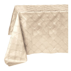 None - Oblong Champagne Pin Tuck Tablecloth - Line your tables with this classy oblong champagne tablecloth. Made with 100-percent polyester,this table linen would be perfect for any occasion.