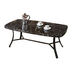 "ACMACM80252 - Daisy 3-Piece Pack Black Faux Marble Top Coffee and End Table Set with Black Met - Daisy 3 Piece pack black faux marble top coffee and end table set with black metal frames. Coffee table measures 48"" x 24"" x 18""H. End tables measure 22'Dia. x 22""H. Some assembly required."