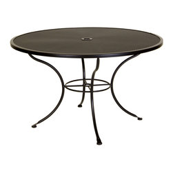 "Micro Mesh 48"" Round Dining Table with 2"" Umbrella Hole - Dimensions -"