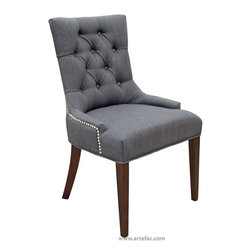 ARTeFAC - 2 - Accent Tufted Fabric Chairs in Neutral Linen with Silver Nail Head, Charcoal - 2 - Accent Tufted Fabric Chairs in Charcoal with Silver Nail Head