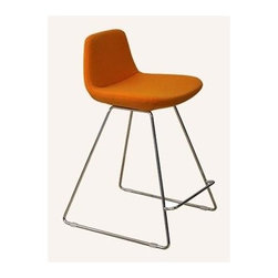 """sohoConcept - Pera Wire Stool (29 in. Dark Grey Wool Fabric - Fabric: 29 in. Dark Grey Wool FabricStool is a unique counter and bar stool with a comfortable upholstered seat. Backrest on solid chromed steel wire base. Each leg is tipped with a plastic glide embedded into the metal wire. Seat has a steel structure with """"S"""" shape springs for extra flexibility and strength. Steel frame molded by injecting polyurethane foam. Seat is upholstered with a removable velcro enclosed leather, PPM or wool fabric slip cover. Stool is Suitable for both residential and commercial use. Pictured in Orange Leatherette. Counter Stool: 20.5 in. L x 18 in. W x 32 in. H, Seat Height: 24 in.. Bar Stool: 20.5 in. L x 18 in. W x 37.5 in. H, Seat Height: 29 in."""