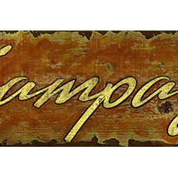 Red Horse Signs - Vintage Signs hampagne - Invite  guests  into  your  private  bar  with  rustic  vintage  wine  signs  such  as  this  Champagne  design  printed  directly  to  distressed  wood.  Measuring  7  x30  inches  it  makes  a  great  statement  about  your  taste  in  beverages.