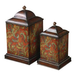 Uttermost Colorful Flowers Metal Canisters, Set/2 - Distressed mocha brown with antiqued gold accents and colorful flower print details. Removable lids. These colorful canisters are made of hand forged metal finished in distressed, mocha brown with antiqued gold accents and colorful flower print details. Removable lids. Sizes: sm-8x13x8, lg-9x16x9