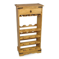 Small Mexican Pine Wine Rack - This rustic pine wine rack is sturdy and functional with a classic Mexican design. Also has a wine glass rack and a convenient drawer. Shipping Included.
