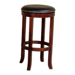 Sunny Designs - Cappuccino Swivel Barstool with Back - Set of 2 - Cappuccino Swivel Barstool with Back; Birch solids and veneers; Black vinyl cushions; Simple assembly, RTA; Weight: 17 lbs; Dimensions:30H