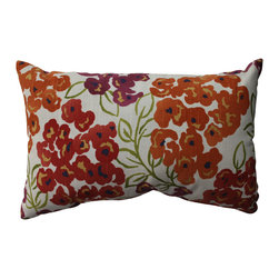 Pillow Perfect - Pillow Perfect Luxury Floral Poppy Rectangular Throw Pillow - Add the perfect blend of style and comfort to any space in your home with this rectangular red and orange floral throw pillow from Pillow Perfect. Sophisticated knife edges and a lovely cotton cover complete the design of this decorative pillow.