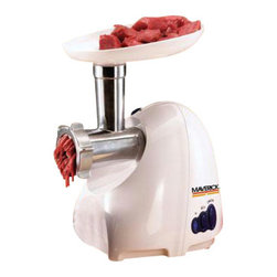 Maverick - Maverick Mince Master 550 - Maverick Mince Master 550 Watts w/ Auto Reset - powerful 550 Watt motor grinds and extrudes the thickest meats. Perfect for sausage, meat loaf, hamburger, baby food and more. Comes with three #8 Stainless Steel dies, stainless cutting blade, sausage cone, kebbe maker and wrench. Reversible Motor makes for easy cleanout. Automatic Reset Thermostat prevents overheating damage. This powerful grinder makes quick work of beef, pork, venison and poultry. Also grinds cheese, nuts, fruits and vegetables. Stainless Steel cutting and extruding dies make for oil-free storage. Save money by buying wholesome foods in bulk and doing the grinding at home. Great for fresh game, too! Features 575 Watt Reversible Motor with automatic reset thermostat in the event of overheating due to extended use. Bonus: Cookie maker dies also included.